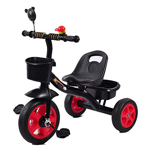 Kids Driewielers Met Bunker, Veiligheid Driehoek Structuur, Tricycle for Children Peuter Leeftijd 2-6 Jaar Oud,Black