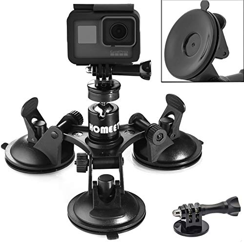 Homeet Super Auto Saugnapfhalterung Kamera Saugnapf Stativ Action Kamera Saugnapf 1/4'' Kugelkopf 360 Grad Drehende für Kamera Camcorder Saugnapfhalter