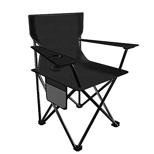sillas de Camping Silla Plegable de Espalda Simple al Aire Libre, Silla de sillón de la Moda del hogar portátil para Acampar Break Break Breakter sillas Plegables (Color : Medium Black)