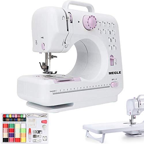 Máquina de coser, 12 puntadas, doble hilo de 2 velocidades, mesa de extensión, Megle-505A