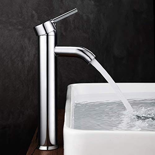 GAVAER Wasserhahn bad, Hohe Waschtischarmatur, Elegant Waschtischmischer Armatur Geeignet für Badezimmer und Waschbecken, Messing Verchromt (Lebenslange Garantie).