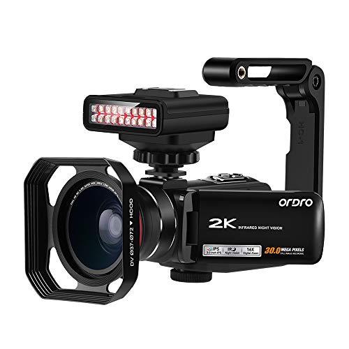 Videokamera 2K Camcorder, ORDRO Vlogging Kamera für YouTube IR Nachtsicht 16X Digital Zoom Kamera Recorder mit IR Licht, Weitwinkelobjektiv, Handstabilisator