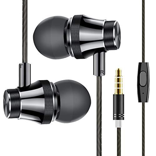 ZEINZE Écouteurs Filaires Intra-Auriculaires, Écouteurs Anti-Bruit Casque de Ergonomique Stéréo avec Microphone pour iPhone, Android Smartphones et MP3- Jack 3,5mm