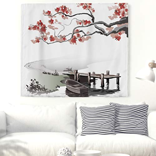 Pont de cerisier pour bateau, mural, tapisserie murale, nappe de plage 150x130cm