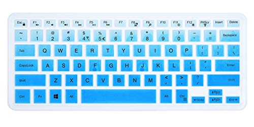 ikammo Keyboard Cover Compatible with 13.3 Dell Inspiron 13 5368 7368 & 14' Dell Inspiron 5482/5481 & DELL XPS 15 9550 9560 9570 & 15.6 Dell Inspiron 15 7568 7569 i7568 i7569 5568 i5568(Ombre Blue)
