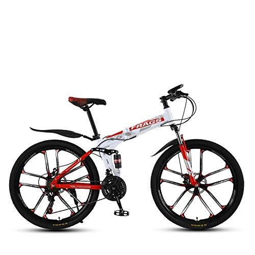 DGAGD Bicicleta de montaña de Velocidad Plegable de 24 Pulgadas Bicicleta de Diez Ruedas Masculina y Femenina-Blanco Rojo_30 velocidades