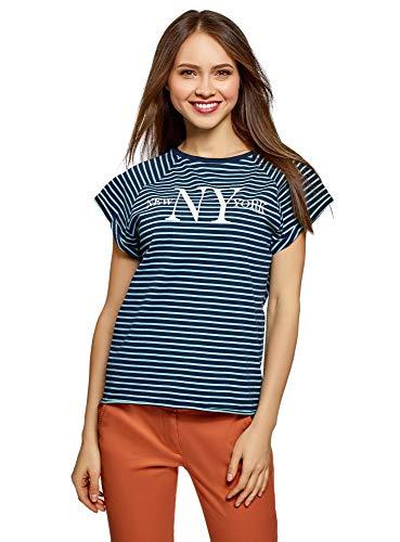 oodji Ultra Mujer Camiseta de Punto con Estampado y Borde Inferior No Elaborado, Azul, ES 44 / XL