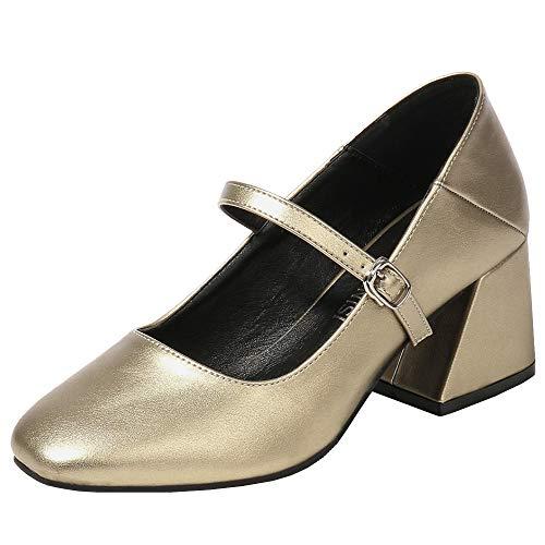 Gracemee Moda Mujer Court Zapatos Tacon Medio Clasico Oficina Pumps Heels Fiesta...