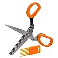 MAODING 19センチメートルミンチ5つのレイヤーバジル、ローズマリーキッチンシザー細切りみじん切りネギカッターハーブ・レーバー・スパイス・クックツールカット (Color : Orange)