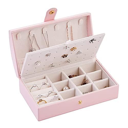 QIUWENSS Joyero Pequeño New Simplicity, Estuche Organizador De Joyas De Viaje De Cuero PU, Regalo Ideal para Mujer Novia Esposa, para Aretes/Pulseras/Anillos/Relojes (Color : Pink)