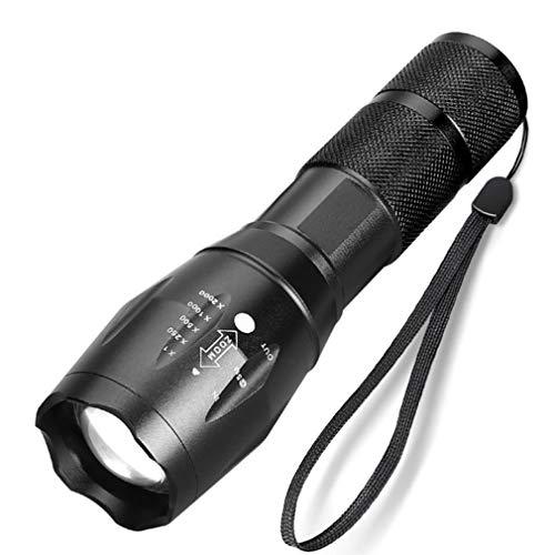 ASFD Linterna LED de 10000 lúmenes T6 / L2 Linterna ultrabrillante 5 Modos Linternas tácticas con Zoom Luz de Flash al Aire Libre (Negro 1 Pieza)