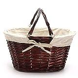 Cestas de picnic Práctica cesta de mimbre hecha a mano Cesta de mimbre para acampar Cesta de picnic Cesta de almacenamiento Espacio suficiente (color: marrón, tamaño: 36x18x17cm)