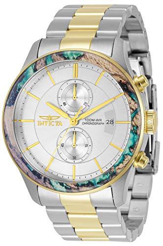 Invicta Reloj de cuarzo para hombre Specialty con correa de acero inoxidable, plateado, dorado, 46 (Modelo: 34061)