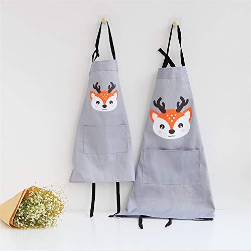 Lindong Süß Tier Schürze mit Tasche für Erwachsene Kinder Wasserdicht Baumwolle Leinen Küchenschürze Latzschürze Kochschürze Kinder Grau Reh