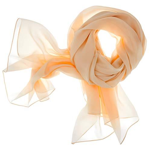 DOLCE ABBRACCIO by RiemTEX ® Schal Damen LADY SUNSHINE Seidentuch Tücher mit hohem Seidenanteil Pashmina Stola Tuch Halstuch in elegantem Beige Kopftuch Damen Seidenschal Elegante Schals (Cappuccino)