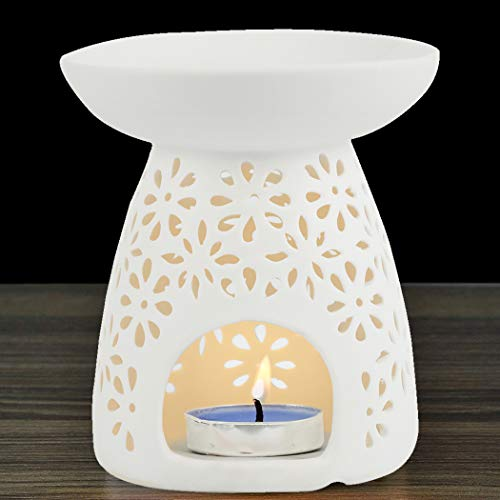 NJCharms Ceramic Tealight Holder Essential Oil Burner Candle Warmers Carved Petal White
