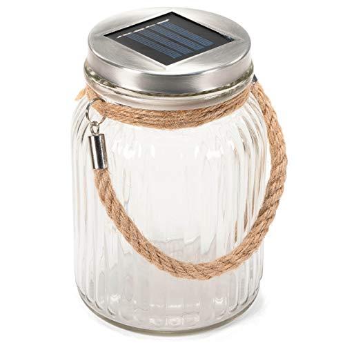 Solarglas mit 3 LED Solar warmweiß mit Aufhänger Einmachglas Gartenbeleuchtung Ø 11cm, Höhe 15,5 cm Party Garten Licht für Außen mit Solarpanel Sonnen Energie Beleuchtung