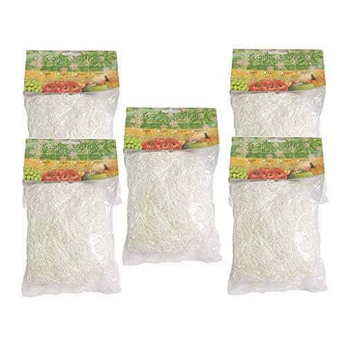 FLAMEER 5 X Heavy-duty White Garden Trellis Netting For Tomatoes/Beans/Vines Plant
