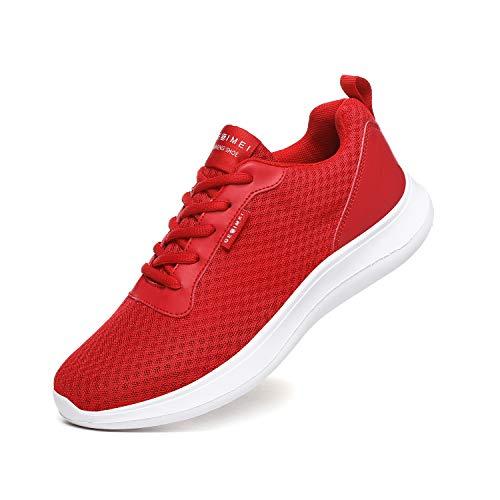 BaiMoJia Laufschuhe Herren Leicht Turnschuhe Atmungsaktiv Mesh Sneaker Weich Sportschuhe Lässig Schuhe Rot 46 EU