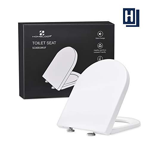 HOMELODY Toilettendeckel-WC sitz mit Quick-Release-Funktion und Softclose Absenkautomatik,Antibakteriell dank Duroplast,Edelstahl-Befestigung,Easyclean Einfache Montage Weiß-wc sitz U form