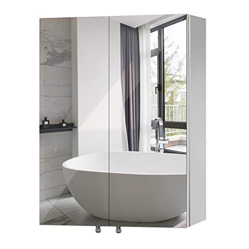 Qucover Spiegelschrank Bad Badezimmerspiegelschrank Wandschrank aus Edelstahl Hängeschrank Breite 60cm Höhe 67cm Badmöbel zweitürig mit 3 verstellbare Ablage Silber