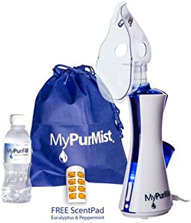 MyPurMist Classic Handheld Personal Steam Inhaler (Plug-in), Vaporizer and Humidifier with Free ScentPad
