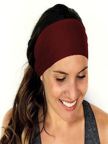 Longra dames wrap haarband, sport, yoga, fitness, hardlopen, elastische haarband, rekbaar, haarband, accessoires, geknoopt, turban, hoofdband Rood