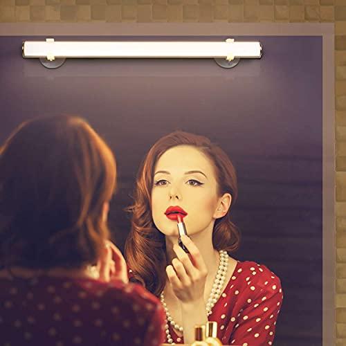 Qucover LED Luci Specchio Dimmerabile, 5W Luci per Specchio da Trucco, Luce da Make Up con Interruttore Touch, Lampada da Specchio per Bagno 3000K, USB ricaricabile, Bianco Caldo Wireless