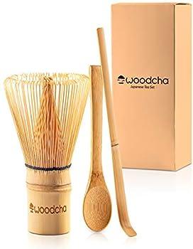 Woodcha Set Included Whisk  Chasen  Scoop  Chashaku  Spoon Traditional Handmade Starter kit Easy Turns Organic Green Powder into Ceremonial Matcha Tea Bamboo