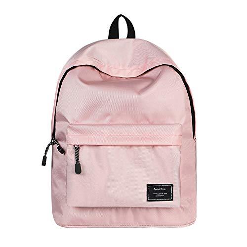 2019 Unisex School Backpack, WAWJ Canvas Shoulder Daypack School Bag for Teens Girls Boys (Pink)