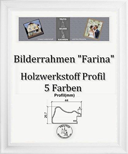 Farina Barock Bilderrahmen 90 x 170 cm Farbe und Verglasung wählbar 170 x 90 cm Hier: Weiss gemasert mit Acrylglas Antireflex 2 mm
