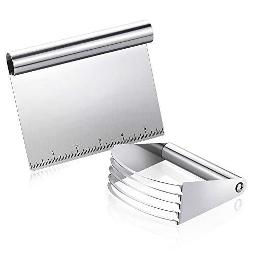 Fuumiy Edelstahl Teigschaber/Teigmischer 2-teiliges Set, Mehrzweck-Küchenschneider-schaber mit Messhilfe, Verdickterer Gebäckschneider und Teigschneider für Teigbearbeitung und Backen