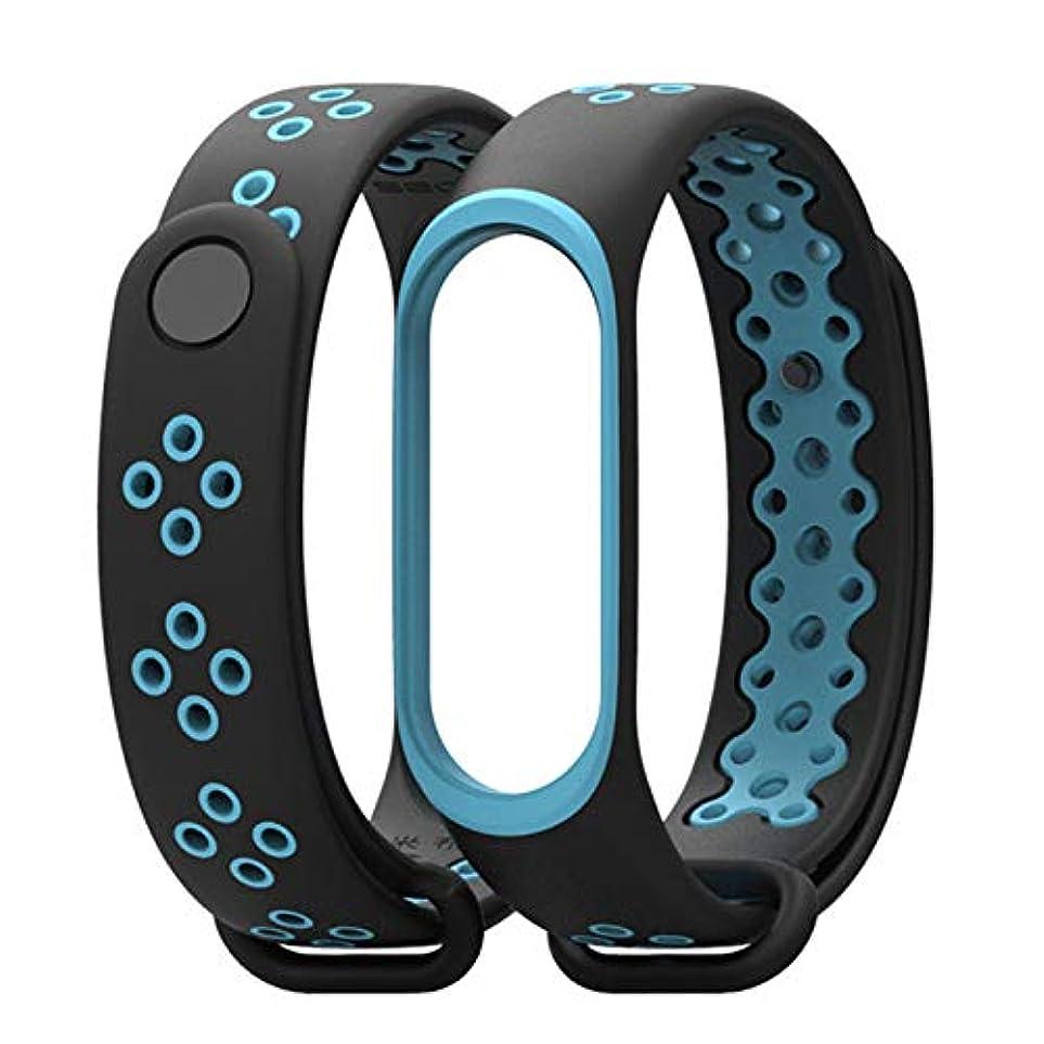 動かす起訴する解放するRaiFu 時計バンド 交換用 Xiaomi Mi バンド3用 スマートウォッチ スポーツ シリコン ブレスレット リストストラップ ブレスレット用 ブラックブルー
