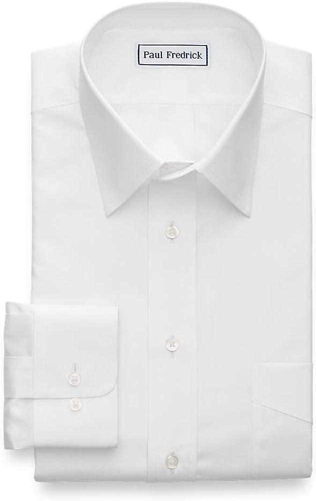 Paul Fredrick Men's Tailored Fit Non-Iron Cotton Solid Dress Shirt