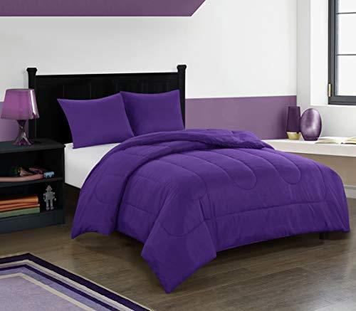 pop shop University All Season Easy-Wash Alternative Reversible Bright Solid Ultra-Soft Lightweight Microfiber Comforter Set, Twin, Purple