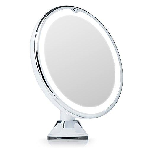 Fancii Kosmetikspiegel mit natürlichem LED Licht, 7 Fach Vergrößerung - Beleuchteter Schminkspiegel mit Tageslicht Beleuchtung und Starkem Saugnapf, Rund