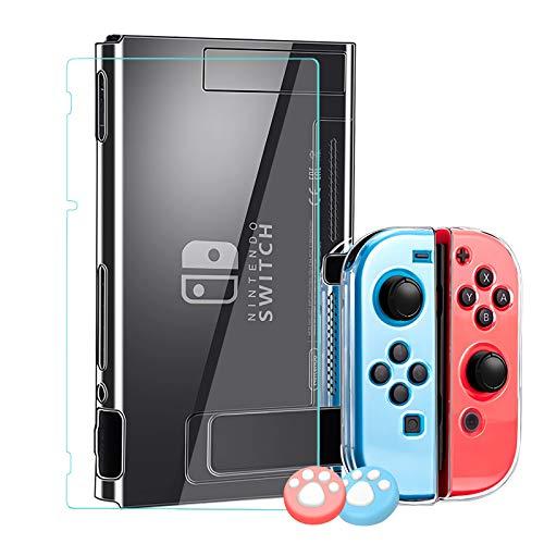 Lammcou Schutzhülle für Nintendo Switch Protective Case & Switch Panzerglas Display Schutzfolie & Joystick Schutzkappen für Nintendo Switch Zubehör Accessories Kit