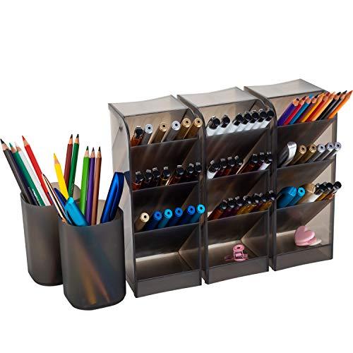 Organizador de mesa com 5 peças, durável, forte, organizador de lápis e canetas, porta-copos para maquiagem, mesa para escritório, escola, casa, professores, estudantes