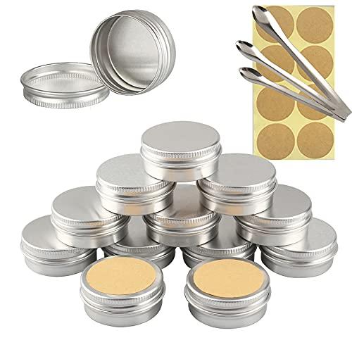 TIANZD 24 Stück Leere 15 ml Rund Silber Aluminium Tins Schraubdose Cremedose Alu-Tiegel Dosen mit Schraub-Deckel 5ml Aludose Blechdosen für Kosmetik Kerze Salben 3X Löffel, 24x Etikette