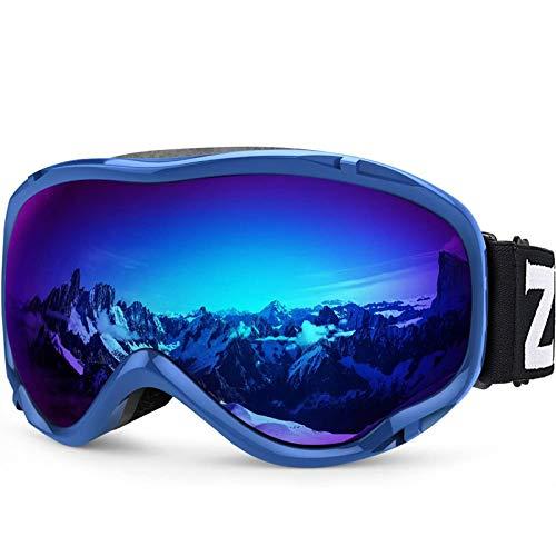 ZIONOR Lagopus Lunettes de Ski Masque de Snowboard Miroir avec OTG Protection UV Anti-buée Masque de Ski pour Homme Femme Youth