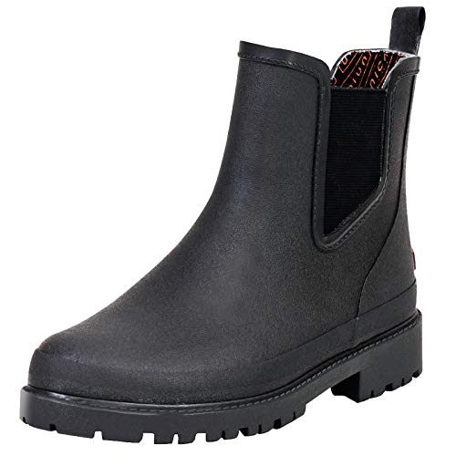 UNICARE Men's Chelsea Rain Boots Waterproof Slip on Shoes Nonslip Short Ankel Boots Rubber Rain Footwear Handmade