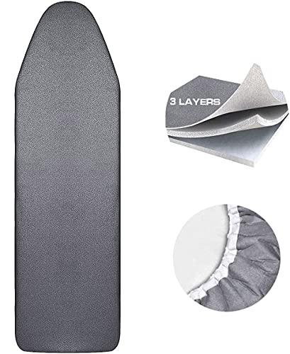 Bügelbrettbezug, Bügelbrett für Dampfbügelstation,Bügelbrettbezug 125x46cm,100% Baumwolle Bügeltischbezug Bügelbrett Bezug,Bügelauflage für Bügelbrett.Ironing Board Cover mit elastischem Verschluss.