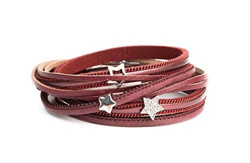 Kandharis Wickelarmband Armschmuck Damen Armband mit 4-Stränge zweimal Wickeln dünne Stränge Stern-Beads, Sterne & Strass Magnetverschluß D79 Dunkelrot