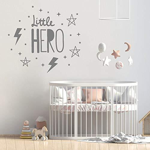 Etiqueta de la pared de jardín de infantes pequeño héroe dormitorio Art Deco pared vinilo calcomanía rayo niña niño habitación pegatina familia calcomanía