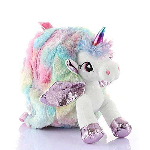 Mistazzo® Unicorn Stylish Cute Soft Plush Backpack Bag for Girls Kids for School, Picnic Trips, Return Gift Material: Fur, Color: Multicolor