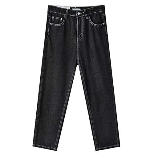 ZOSYNS Pantalones vaqueros rectos para mujer, primavera, verano, lisos, sueltos, cintura alta, con bolsillos Negro 32