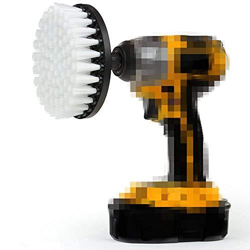 DUOSHIDA Drill Brush 5 inch White Soft Bristle– Clean Fiberglass Tub, Microfiber Upholstery, Auto Carpet, Boat Seat with Quick Change Shaft