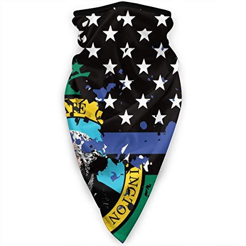 Washington Thin Blue Line Flag USA Gezichtsmasker, hals, gamas, bandana, sjaal, bivakmuts, multifunctionele hoofddeksel