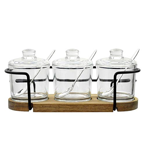 Vencer Set of 3 Glass Sugar Bowl with Lid and Sugar Serving Spoon,Wooden Tray with Hanging Lids,Sugar Holder for Sugar, Serving,Tea, Coffee, Spice, Salt