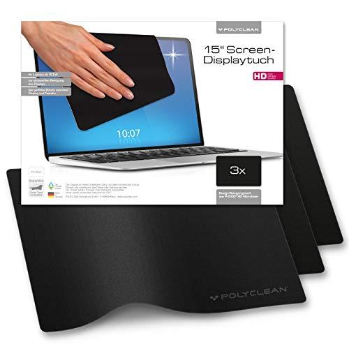 POLYCLEAN 3x Displaytuch – 15 Zoll Microfasertuch für Bildschirm, Laptop und Tastatur – Reinigungstuch zum Schutz von Notebook und Tablet (31x22 cm)